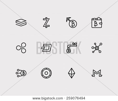 Crypto Currency Icons Set. Coin Faucet And Crypto Currency Icons With Stratis, Mining And Ethereum.