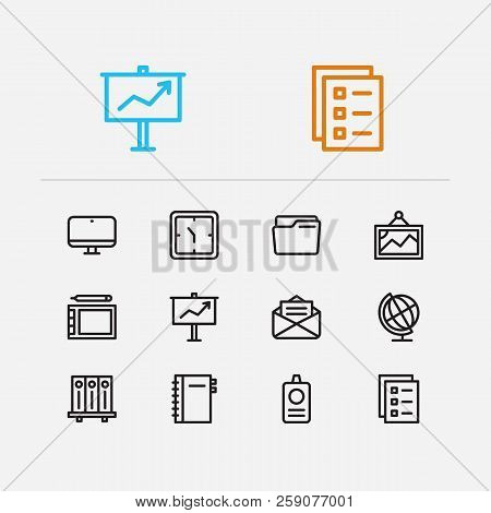 Workspace Icons Set. Library And Workspace Icons With Clock, Computer And Globe. Set Of Drawing For