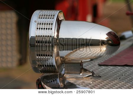 close up of a fire truck siren
