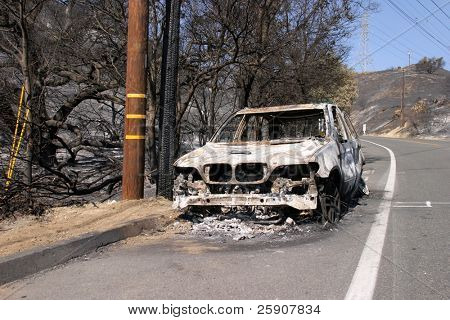 10-31-2007 Santiago Canyon Wild Fires Series. Cars burned to the ground from the wild fires