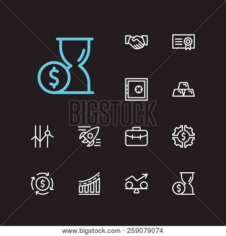 Investment Icons Set. Time Money And Investment Icons With Gold, Cooperation And Funds Protection. S