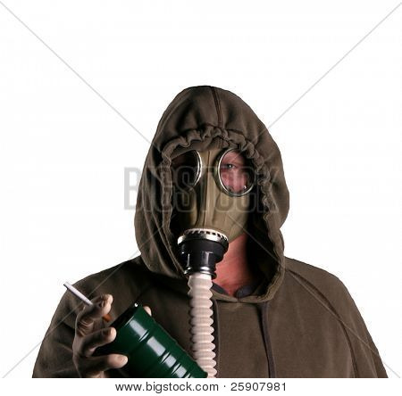 a isolated on white man in a Gas Mask tries to smoke a cigarette representing Global Warming and Anti-Smoking Message at the same time
