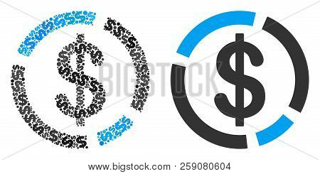 Dollar Diagram Composition Of Dollar Symbols And Small Round Circles. Vector Dollar Currency Symbols