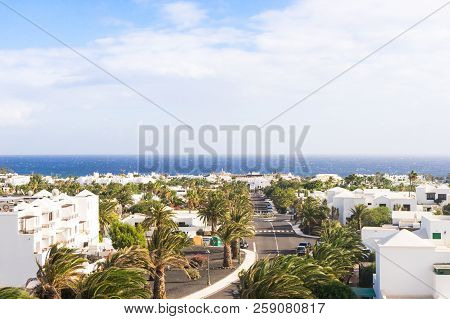 Costa Teguise, Spain - December 12, 2017: Ocean View From Costa Teguise Village On December 12, 2017