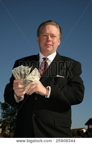 Mr. Money Man has money to loan. Banking, Loan, Financial, Business, concepts