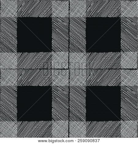 Tartan Seamless Pattern Black White Checkered Plaid