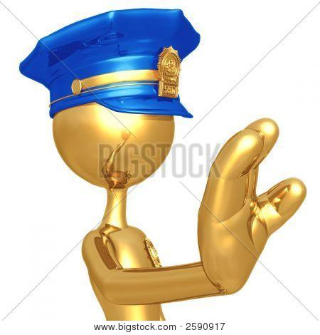 Golden Police Officer Stop Gesture