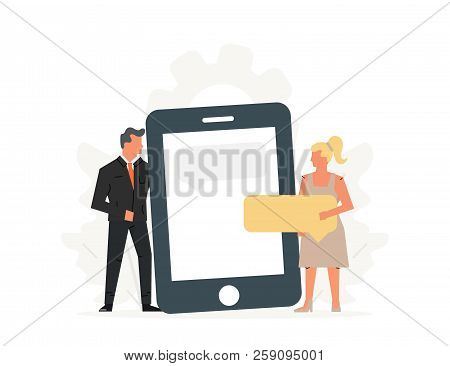 People Hold A Large Phone. Concept Of Business Meeting, Virtual Relationships, Online Dating, Social