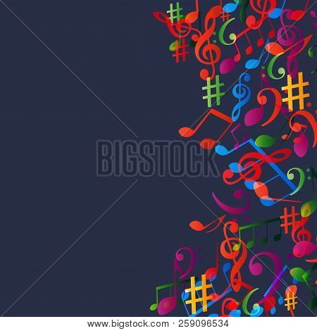 Music Background With Colorful Music Notes And G-clef Vector Illustration Design. Artistic Music Fes
