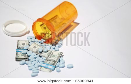 Money and pills pour out of a pill bottle representing the high cost of health care and medication concepts