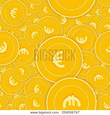 European Union Euro Coins Seamless Pattern. Admirable Scattered Eur Coins. Big Win Or Success Concep