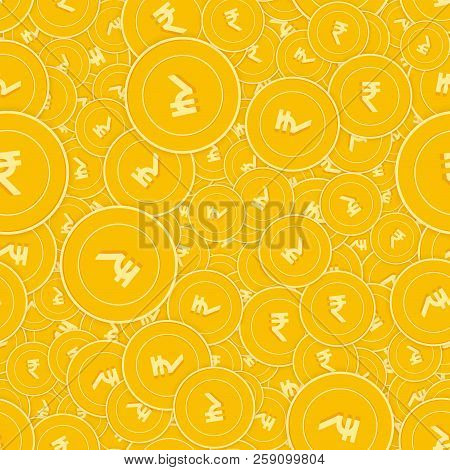 Indian Rupee Coins Seamless Pattern. Fabulous Scattered Inr Coins. Big Win Or Success Concept. India