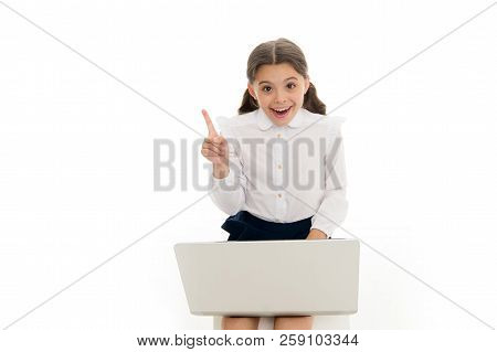 Inspiring Idea. Schoolgirl Work Play Laptop Isolated On White. Child Got Inspiration While Surfing I