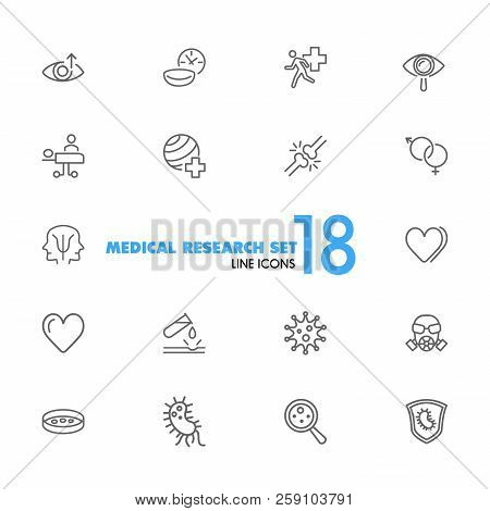 Medical research icons. Set of  line icons. Urgent help, heart decease, virus. Medical research concept. Vector illustration can be used for topics like decease prevention, medication, health care. poster
