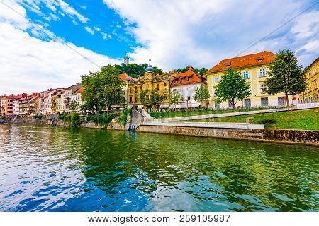 Ljubljana Old Town Center, View Of Ljubljanica River In City Center. Old Building Historic Panorama.