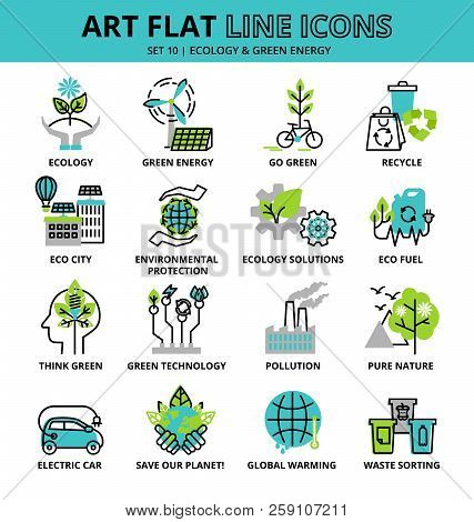 Set Of Ecology Icons For Graphic And Web Design, Flat Line Vector Illustration