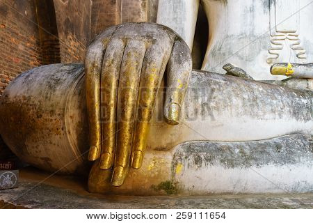 Hand buddha in Sukhothai Province Thailand. Wat Srichum in Sukhothai Historical Park is a historic site. poster