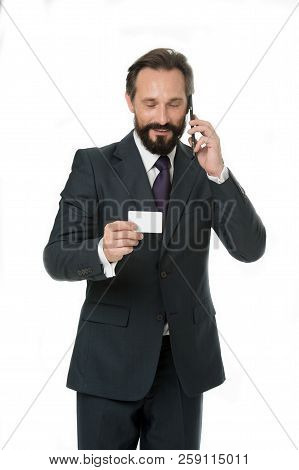 Consulting A Lawyer. Business Man Talk To Client On Mobile Phone. Trust Me I Am Lawyer. Man Give Bus
