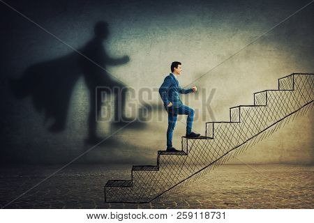 Happy Businessman In Suit Climb A Stairway With Aspiration Of Becoming Superhero. Dream Of Success,