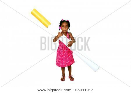 anti-smoking concept a baby girl struggles with a giant cigarette