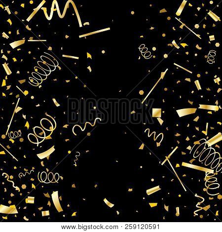 Golden Confetti. Gold Texture Glitter On A Black Background. Element Of Design. Golden Abstract Text