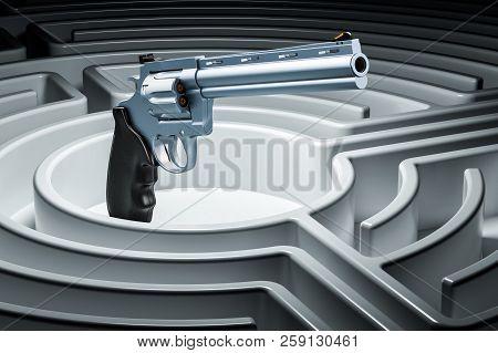 Revolver, Gun Inside Labyrinth Maze. Hidden Threat Concept. 3d Rendering