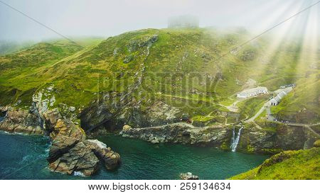 Fog In Cornwall With Visible Sun Rays - Tintagel (trevena), Cornwall, United Kingdom