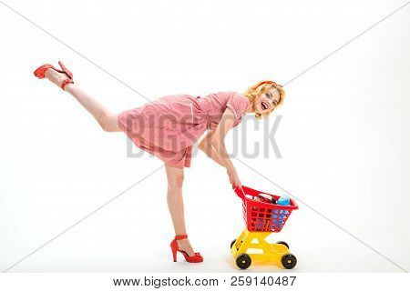 Easy Choice. Happy Retro Woman Go Shopping. Take It. Leisure Time. Vintage Woman Go Shopping In Mall