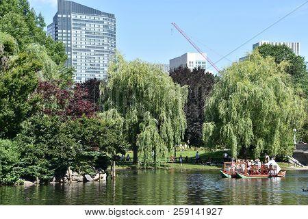 Boston, Ma - Jun 16: The Famous Swan Boats At The Public Garden In Boston, Massachusetts, As Seen On