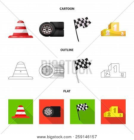 Vector Illustration Of Car And Rally Icon. Collection Of Car And Race Stock Symbol For Web.
