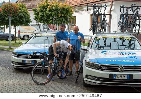 Ruzomberok, Slovakia - September 14, 2018: Team Gazprom Prepare Before Second Stage Of Road Cycling