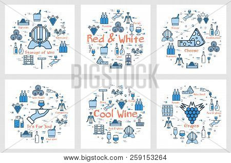 Vector Six Blue Square Banners In Linear Style - Of Red And White Wine, Grape, Viticulture, Winemaki