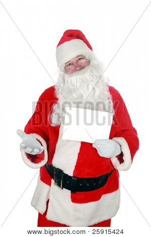 Santa holds a blank white sign  isolated on white room for text
