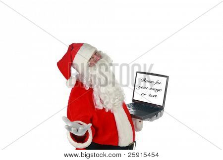 Santa Claus checks his computer isolated on white  room for text