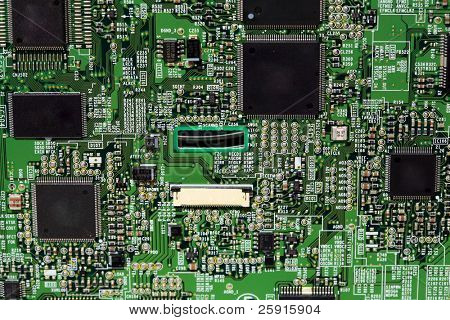 closeup of a computer circut board