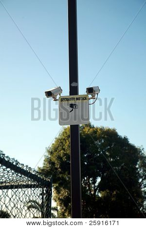 Security Cameras and warning sign