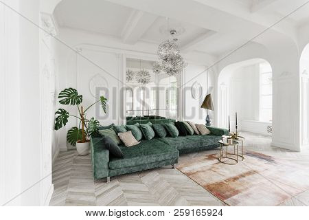 Morning In Luxurious Light Interior In The Baroque Style. Bright And Clean Interior Design Of A Luxu