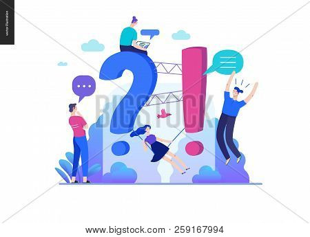 Business, Color 2- Faq -modern Flat Vector Concept Illustration Of Frequently Asked Questions People
