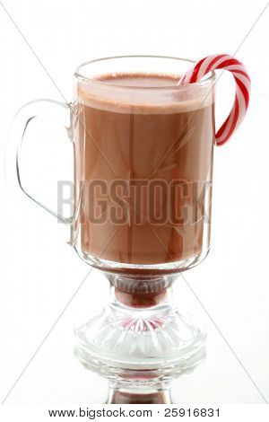 hot chocolate or coco with candy cane for christmas