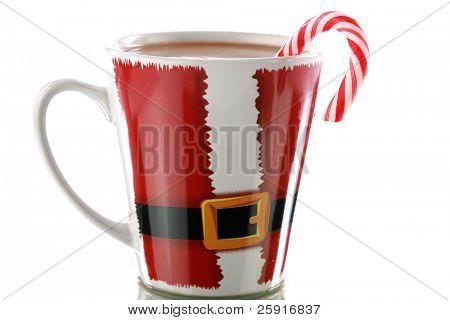 hot chocolate or coco in a santa claus mug
