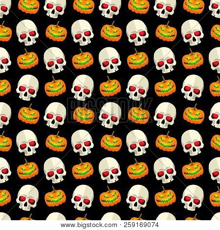 Halloween Abstract Seamless Pattern Mosaic Design With Skulls And Funny Pumpkins Faces On Black Back