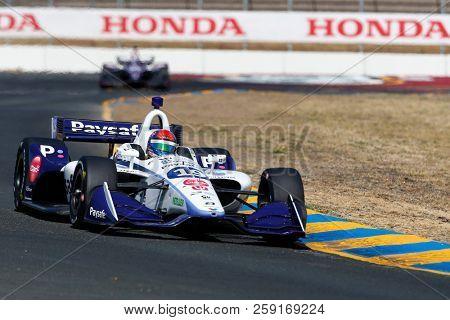 September 14, 2018 - Sonoma, California, USA: PIETRO FITTIPALDI (19) of Brazil takes to the track to practice for the Indycar Grand Prix of Sonoma at Sonoma Raceway in Sonoma, California.