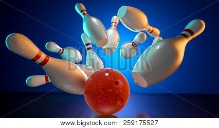 3d rendering image of bowling action