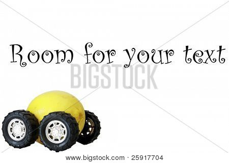 generic truck wheels on a yellow lemon represents the catch phrase