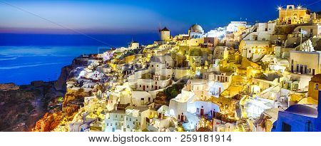 New Destinations Concepts. Sunset At Santorini Island In Greece. Image Taken In Oia Village At Dusk.
