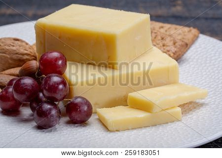 Block Of Aged Cheddar Cheese, The Most Popular Type Of Cheese In United Kingdom And Usa, Natural Che