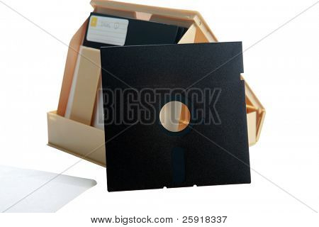 5.25 inch Floppy Disc and case isolated on white with room for your text or images