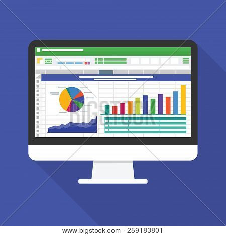 Spreadsheet On Computer Screen Flat Icon. Financial Accounting Report Concept. Office Things For Pla