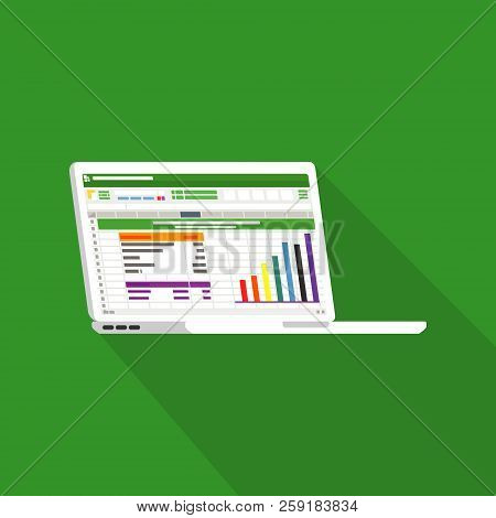 Spreadsheet On Laptop Screen Flat Icon. Financial Accounting Report Concept. Office Things For Plann