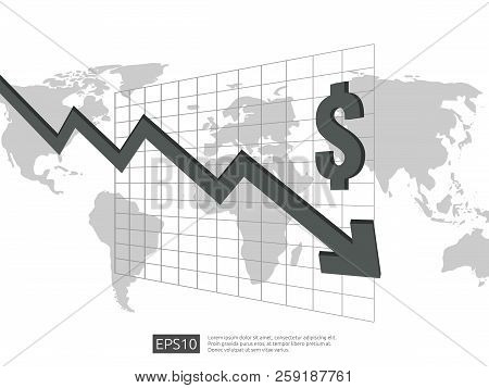 Dollar Money Fall Down Symbol With White Background. Arrow Decrease Economy Stretching Rising Drop.